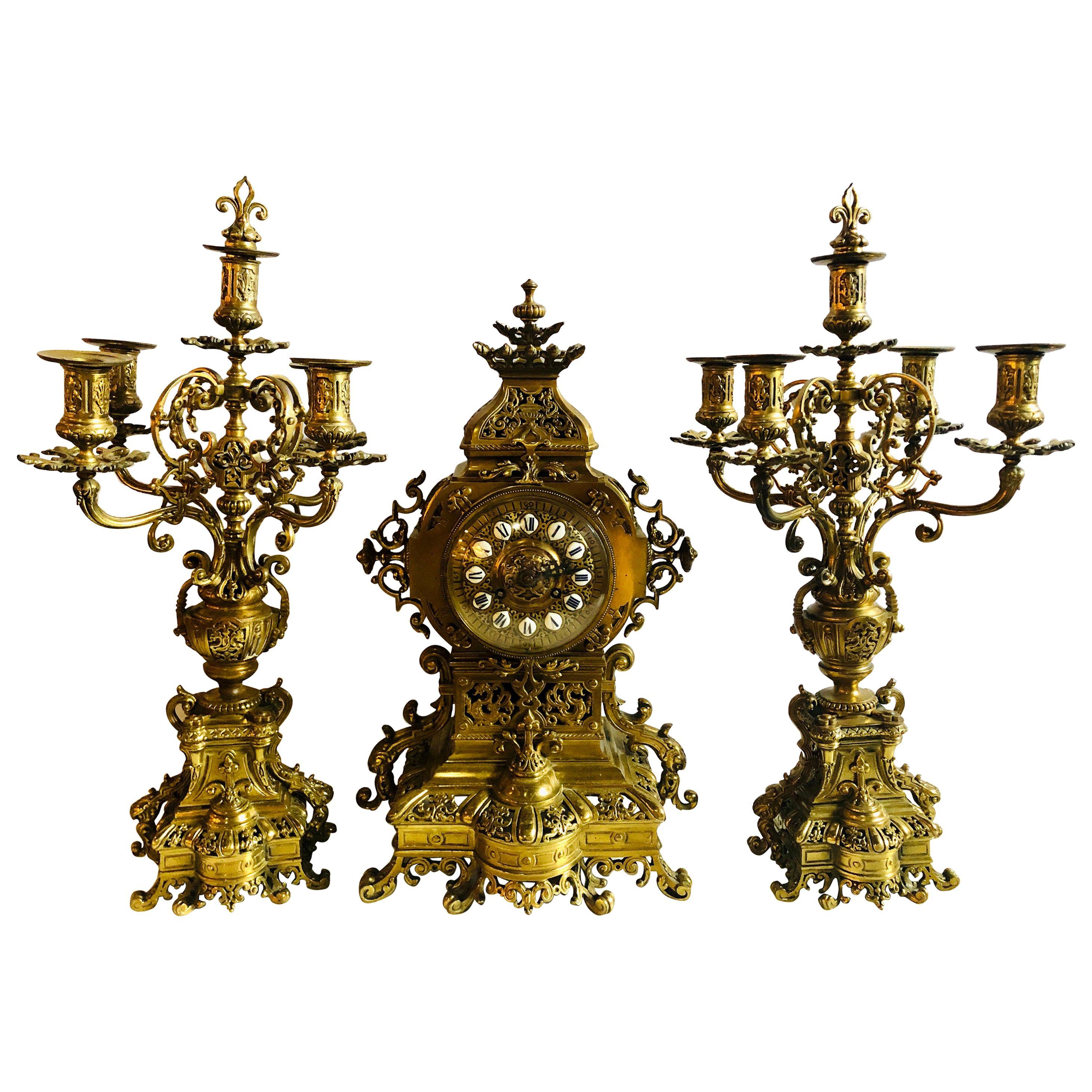 19th Century Gothic Style J.E. Caldwell Gilt Bronze Clock Garniture Set