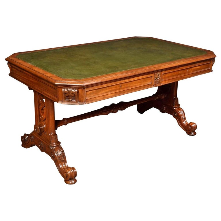 19th Century Gothic Style Library Table For Sale