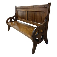 19th Century Gothic Walnut Church Pew