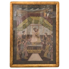 19th Century Gouache Painting of Persian Royal Court Scene