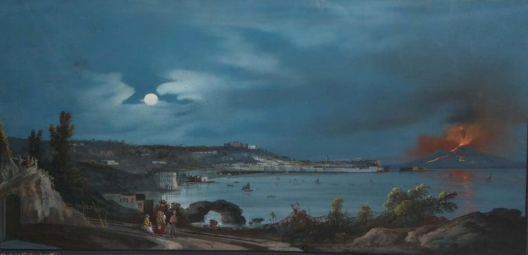 19th century Italian gouache with view of Naples and Vesuvius.