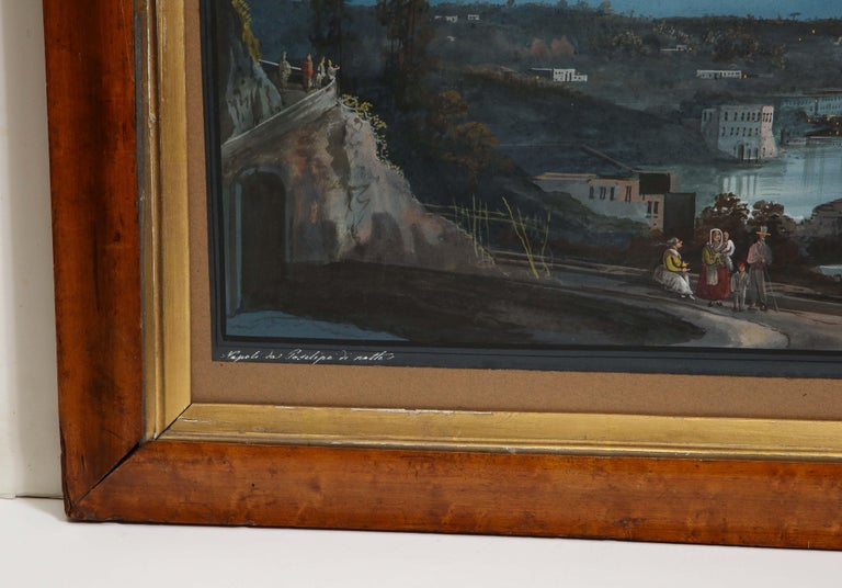 Italian 19th Century Gouache With View of Naples and Vesuvius For Sale