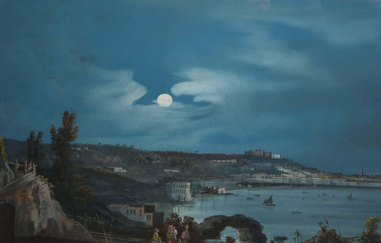 19th Century Gouache With View of Naples and Vesuvius In Good Condition For Sale In New York, NY