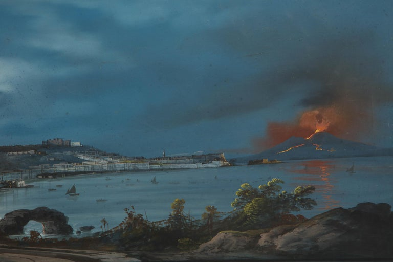 Canvas 19th Century Gouache With View of Naples and Vesuvius For Sale
