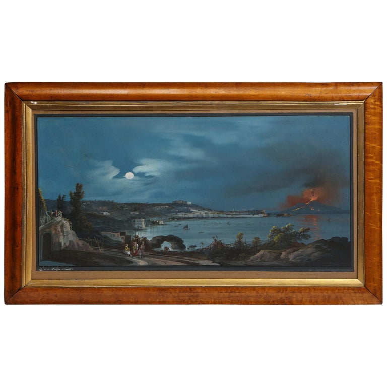 19th Century Gouache With View of Naples and Vesuvius For Sale