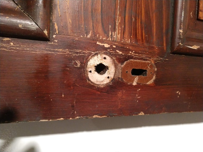 19th Century Grain Painted Paneled Wood Door For Sale 4