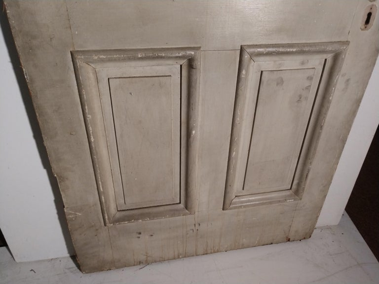 American Classical 19th Century Grain Painted Paneled Wood Door For Sale