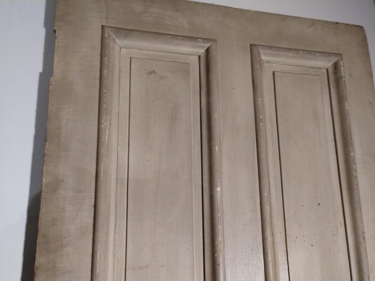 Hand-Painted 19th Century Grain Painted Paneled Wood Door For Sale
