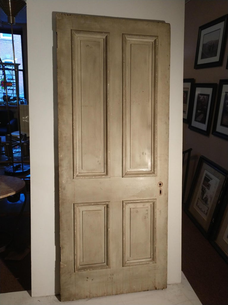 Hardwood 19th Century Grain Painted Paneled Wood Door For Sale