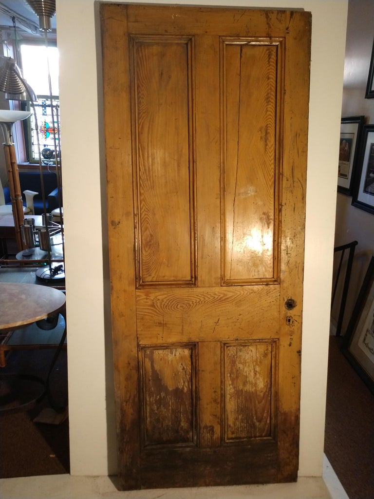 19th Century Grain Painted Paneled Wood Door For Sale 2