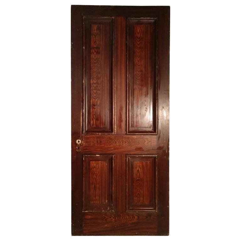19th Century Grain Painted Paneled Wood Door For Sale