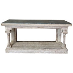 19th Century Grand Painted Console with Faux Slate Top