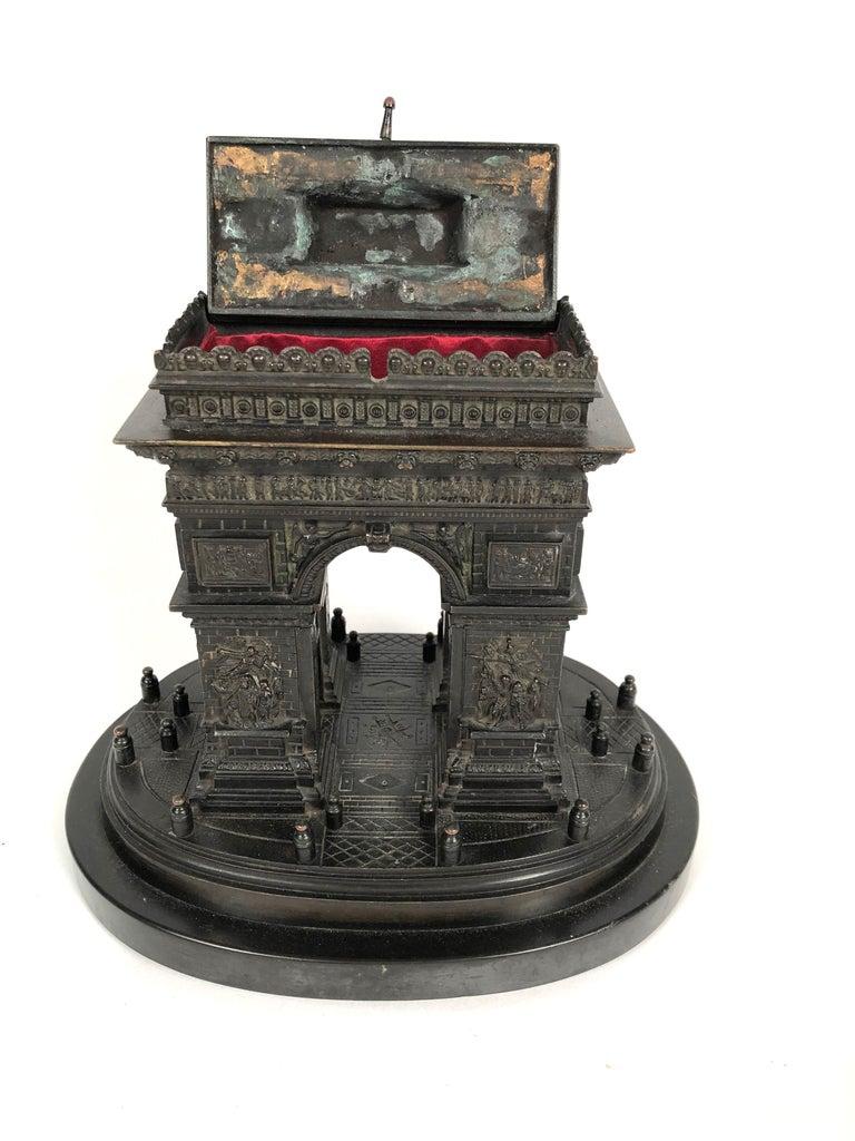 19th Century Grand Tour Bronze Architectural Model of the Arc De Triomphe, Paris For Sale 3