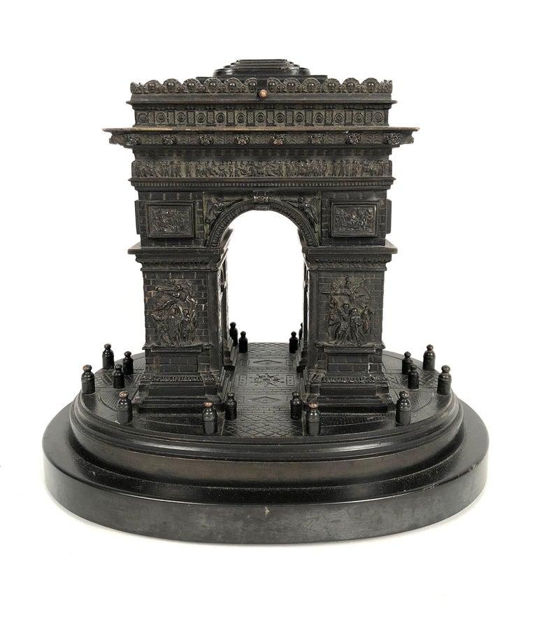 19th Century Grand Tour Bronze Architectural Model of the Arc De Triomphe, Paris For Sale 5