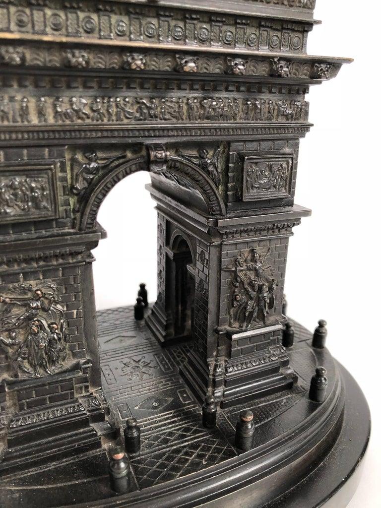 French 19th Century Grand Tour Bronze Architectural Model of the Arc De Triomphe, Paris For Sale