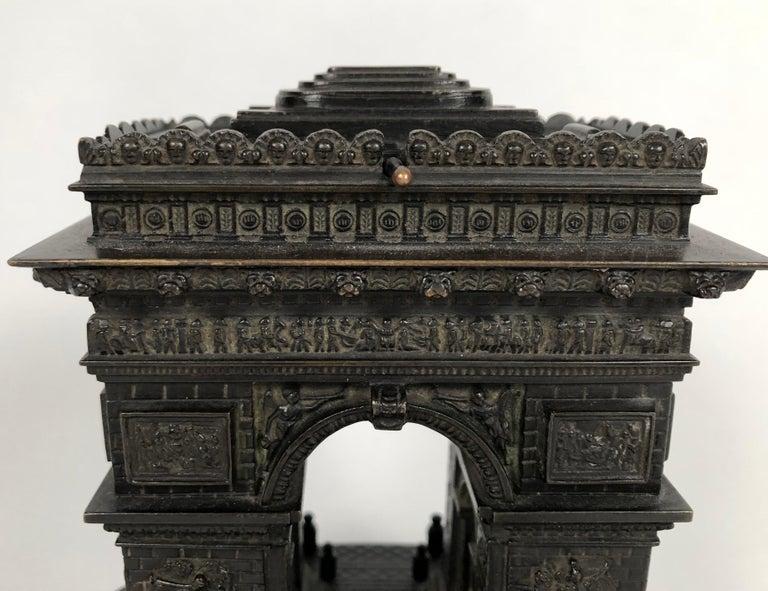 Cast 19th Century Grand Tour Bronze Architectural Model of the Arc De Triomphe, Paris For Sale