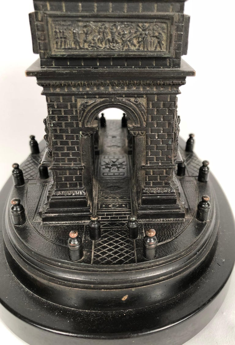 19th Century Grand Tour Bronze Architectural Model of the Arc De Triomphe, Paris In Good Condition For Sale In Essex, MA