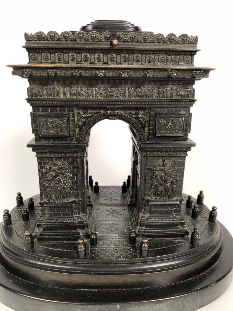 Late 19th Century 19th Century Grand Tour Bronze Architectural Model of the Arc De Triomphe, Paris For Sale