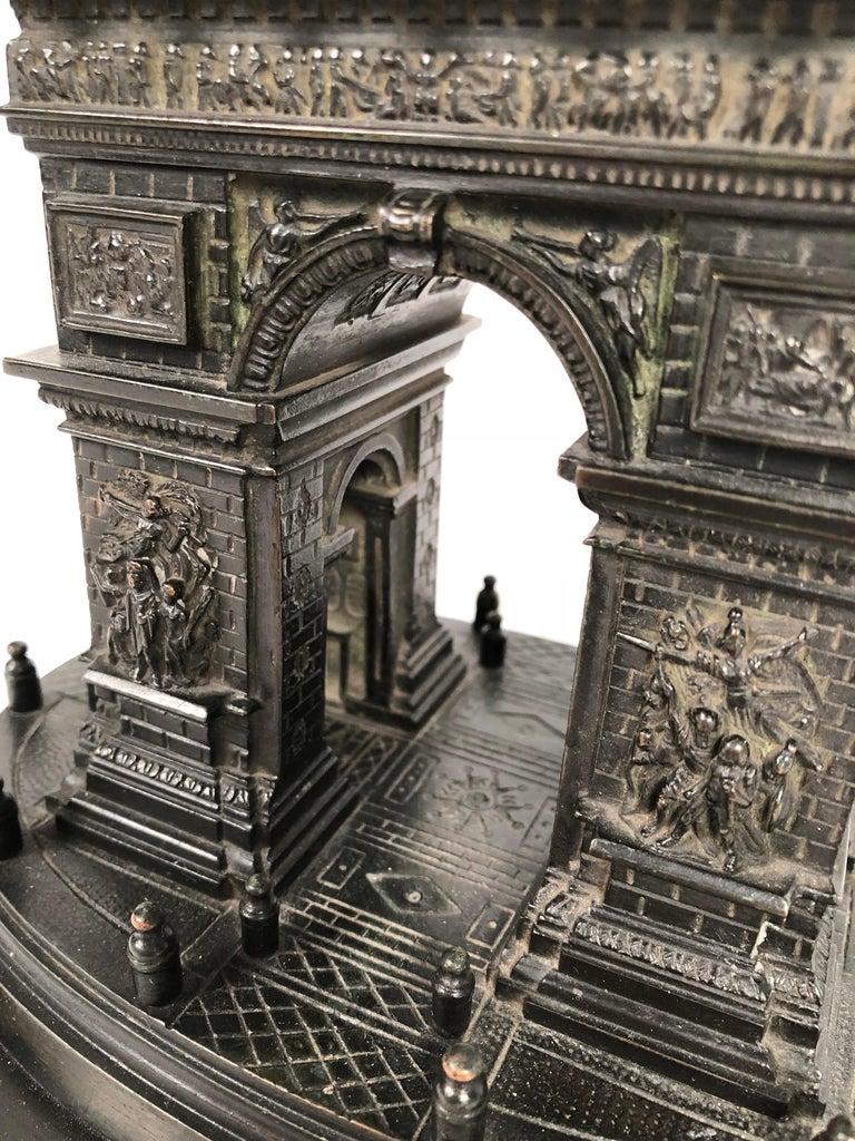 19th Century Grand Tour Bronze Architectural Model of the Arc De Triomphe, Paris For Sale 1