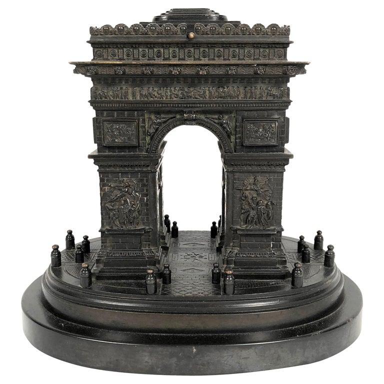 19th Century Grand Tour Bronze Architectural Model of the Arc De Triomphe, Paris For Sale