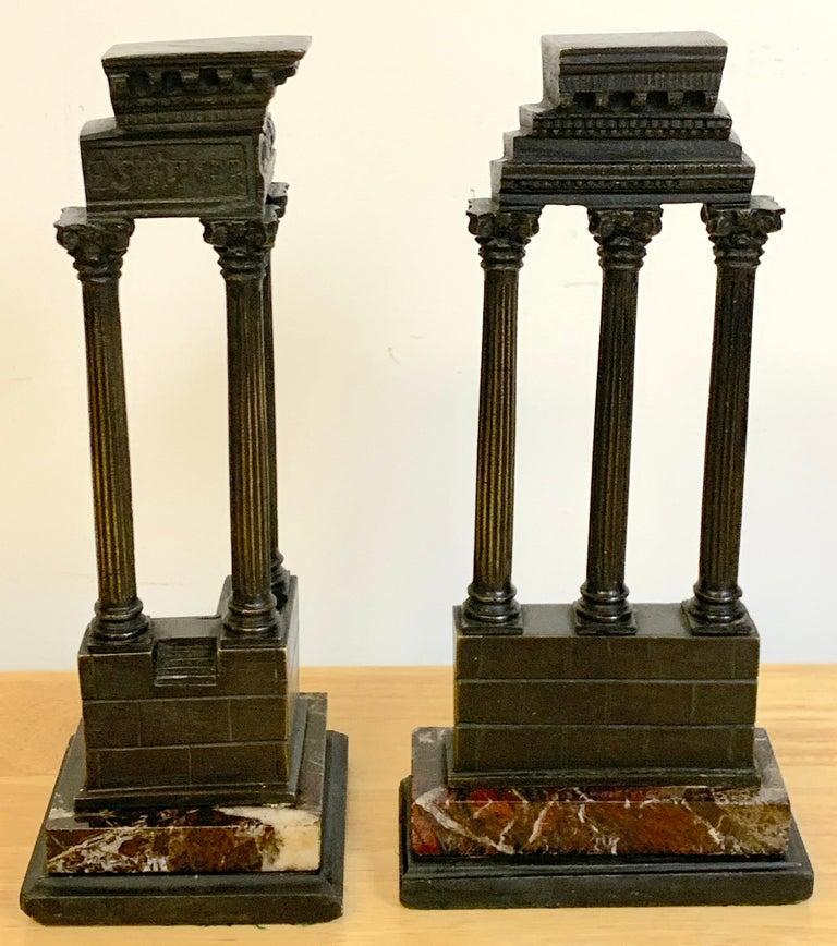 19th Century Grand Tour Bronze Models Roman Forum Columns In Good Condition In West Palm Beach, FL