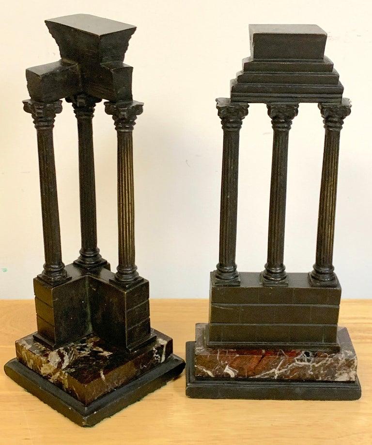 19th Century Grand Tour Bronze Models Roman Forum Columns 1