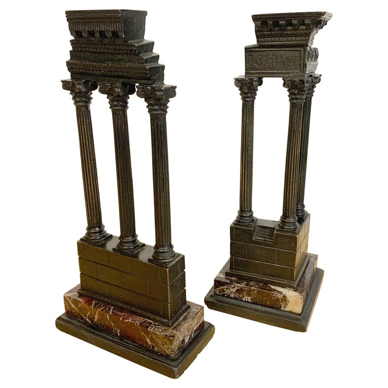 19th Century Grand Tour Bronze Models Roman Forum Columns