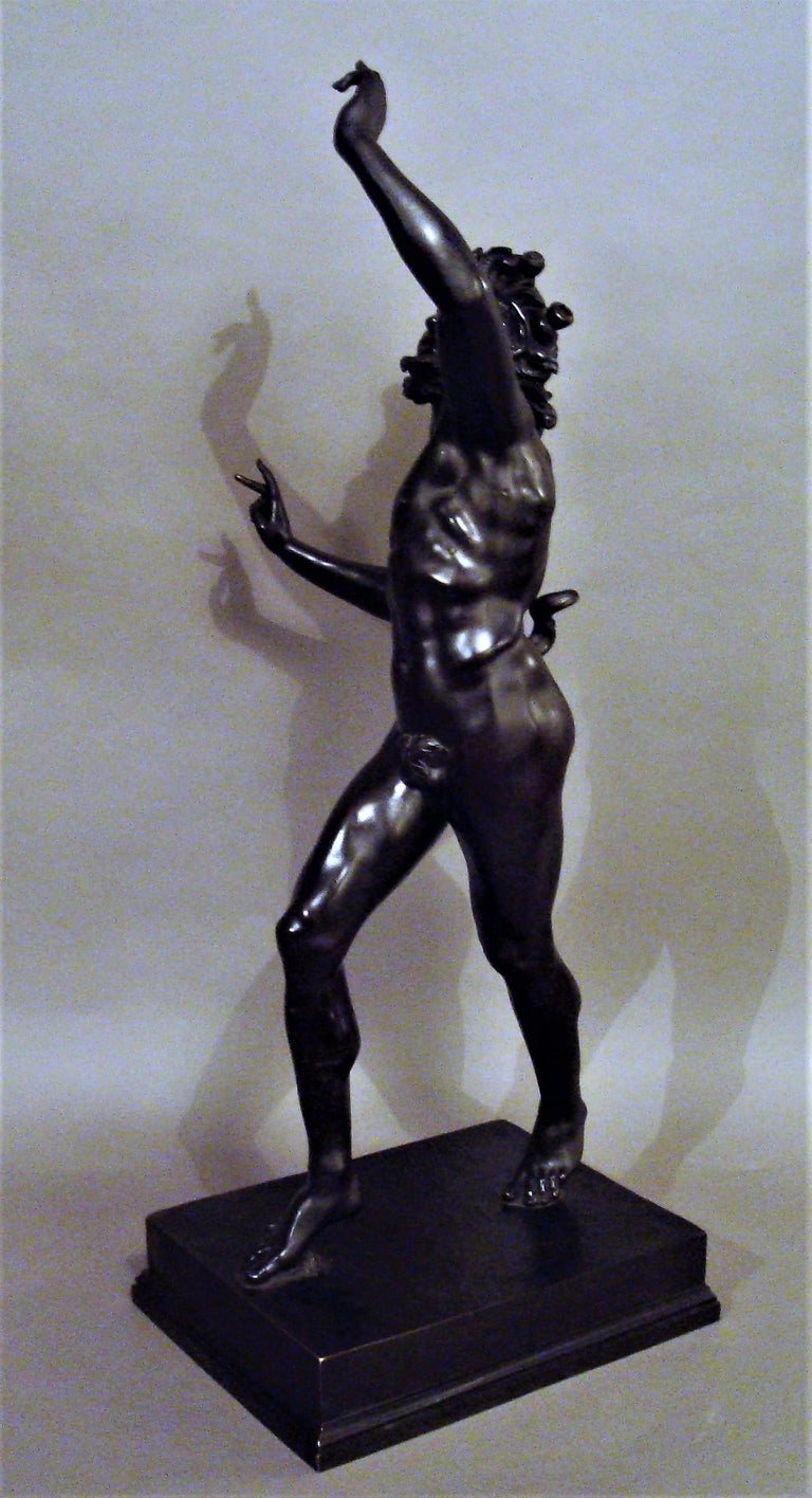 19th Century Grand Tour Bronze Sculpture of the Dancing Faun For Sale 5