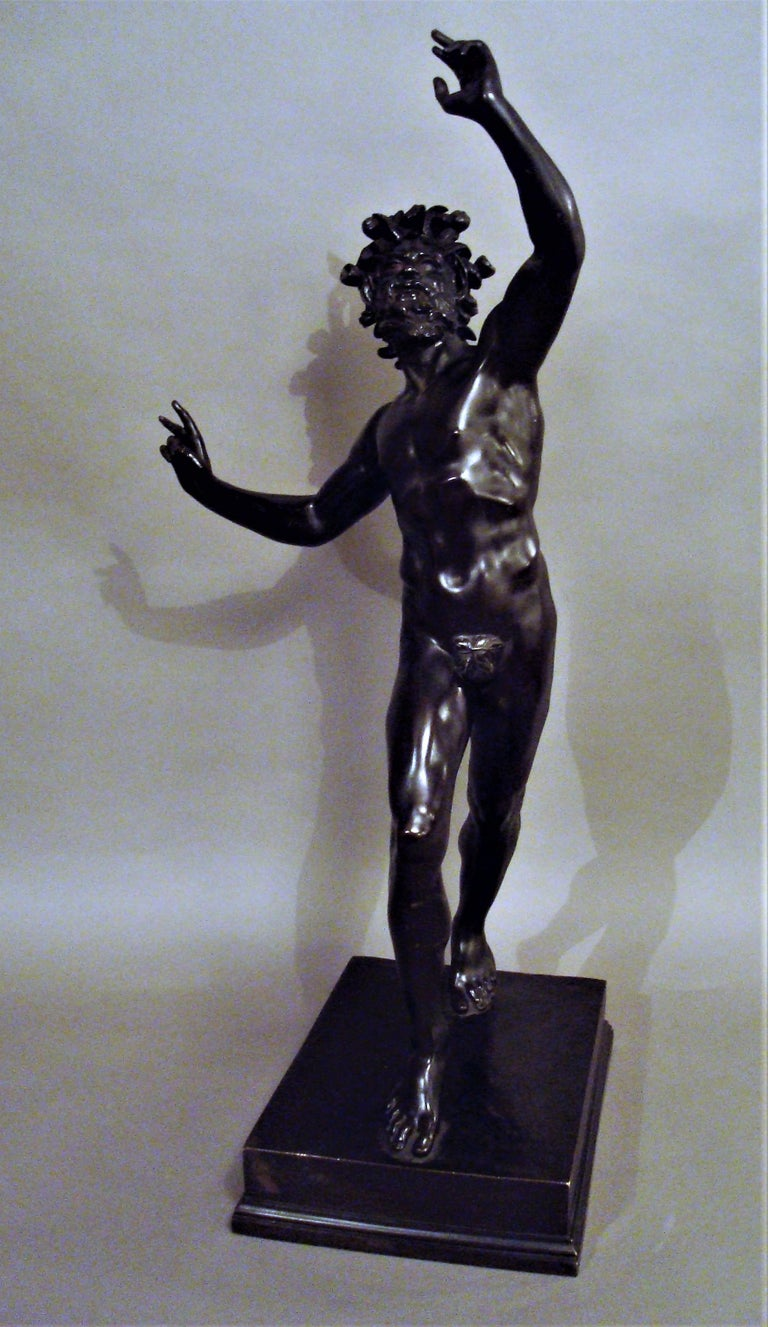 19th Century Grand Tour Bronze Sculpture of the Dancing Faun For Sale 6