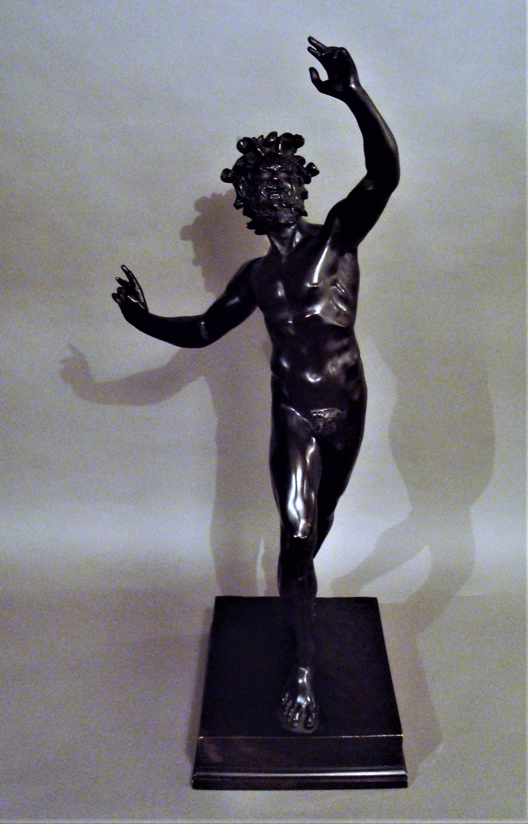 19th Century Grand Tour Bronze Sculpture of the Dancing Faun For Sale 7