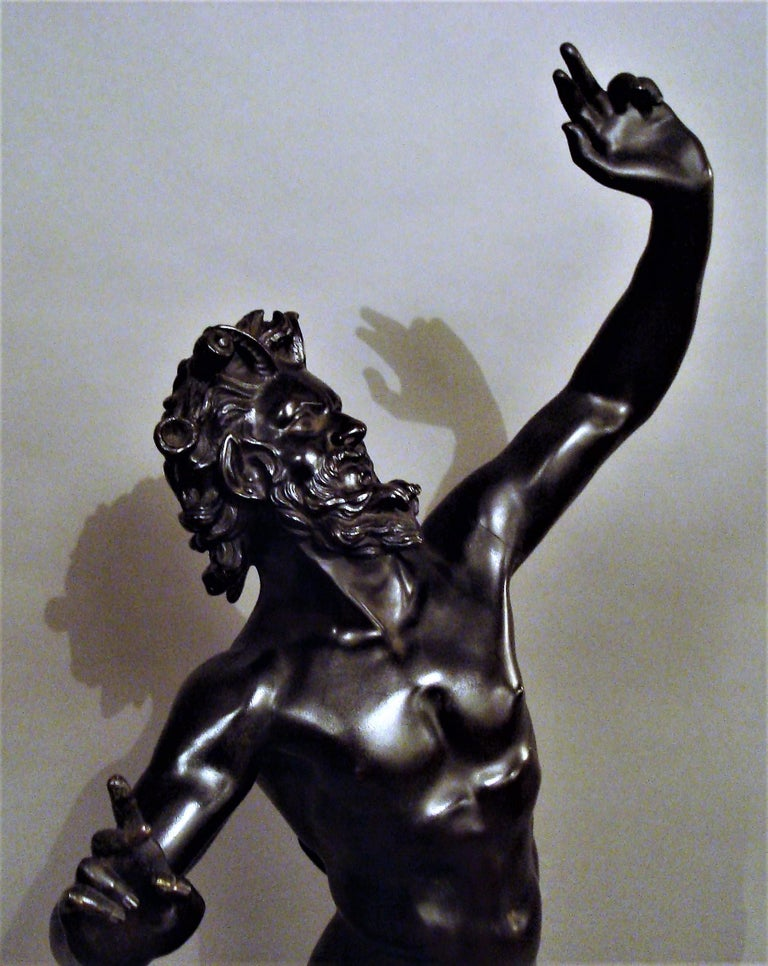 19th Century Grand Tour Bronze Sculpture of the Dancing Faun For Sale 10