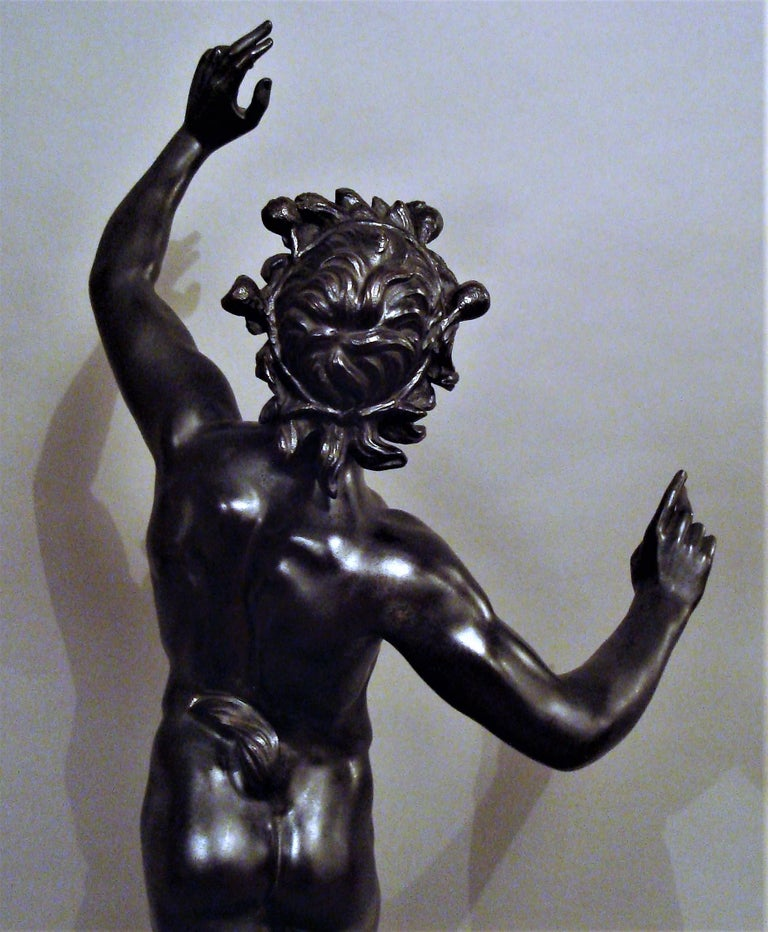 19th Century Grand Tour Bronze Sculpture of the Dancing Faun For Sale 11
