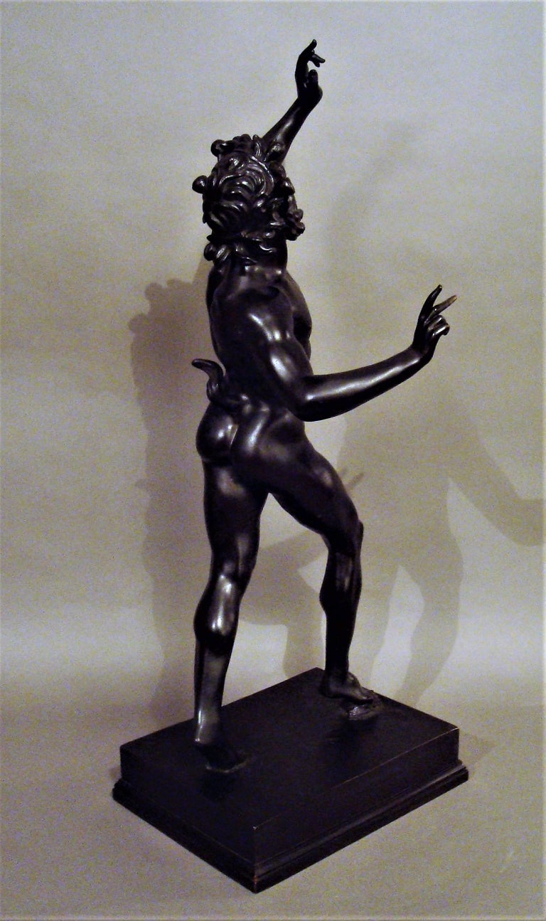 19th Century Grand Tour Bronze Sculpture of the Dancing Faun In Good Condition For Sale In Moreton-in-Marsh, Gloucestershire