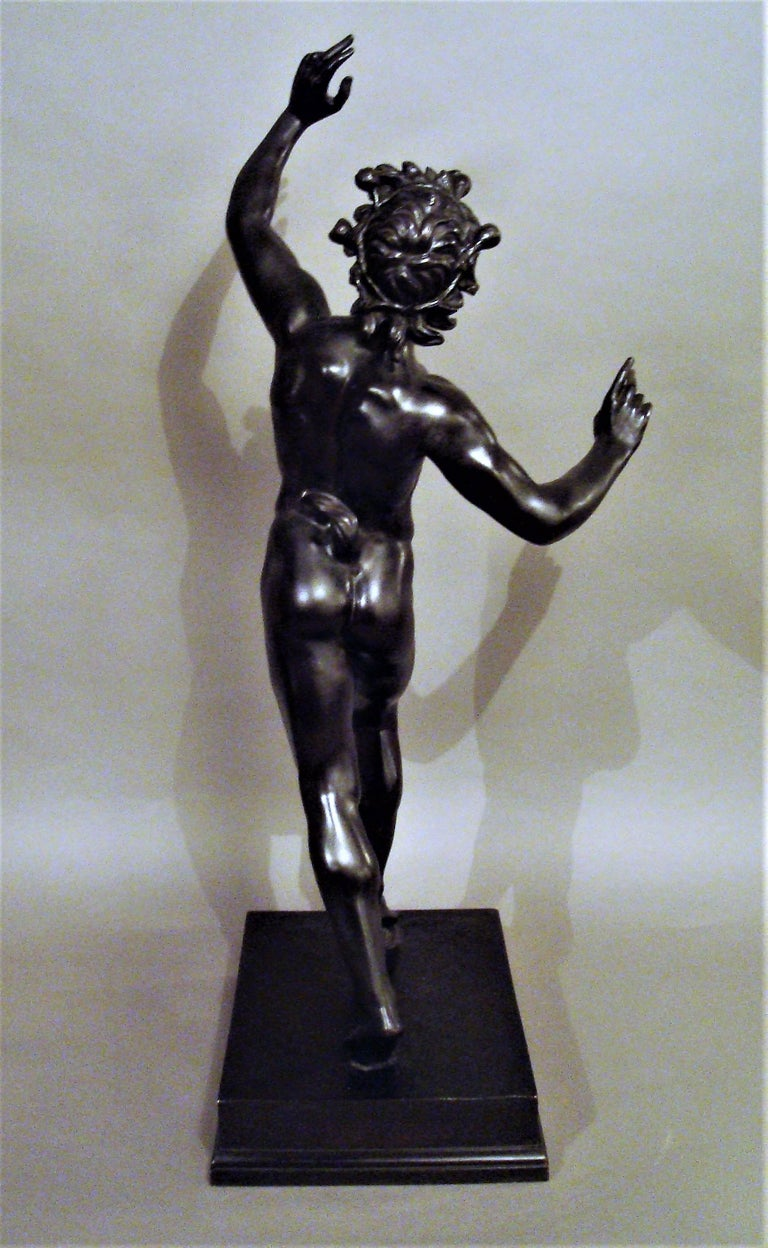 19th Century Grand Tour Bronze Sculpture of the Dancing Faun For Sale 1