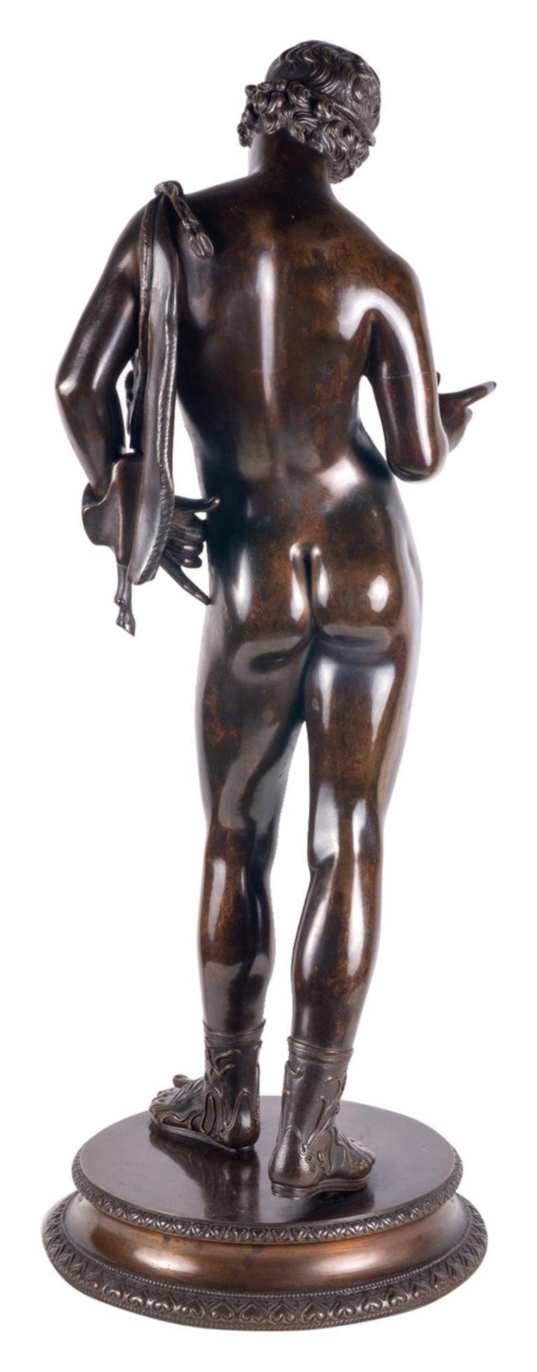 Italian 19th Century Grand Tour Bronze Statue of Narcissus For Sale