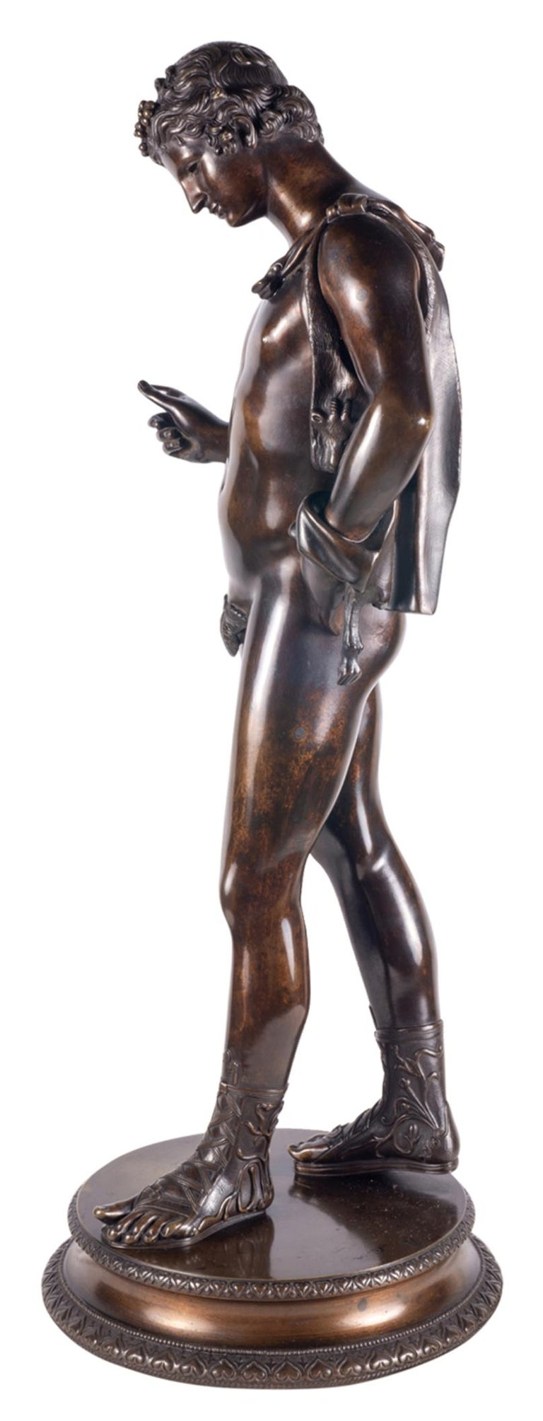 Patinated 19th Century Grand Tour Bronze Statue of Narcissus For Sale