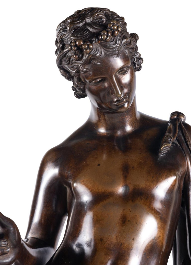19th Century Grand Tour Bronze Statue of Narcissus For Sale 1
