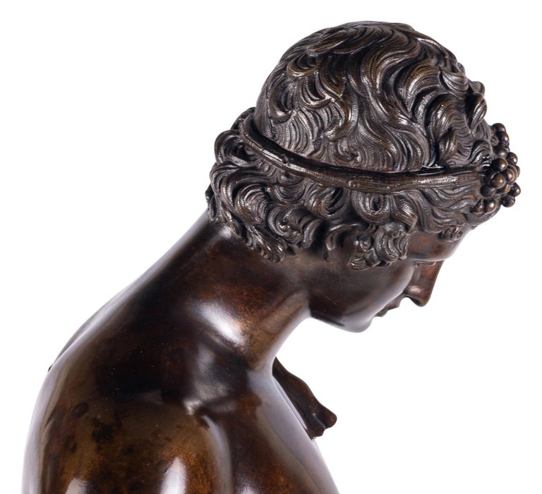 19th Century Grand Tour Bronze Statue of Narcissus For Sale 2