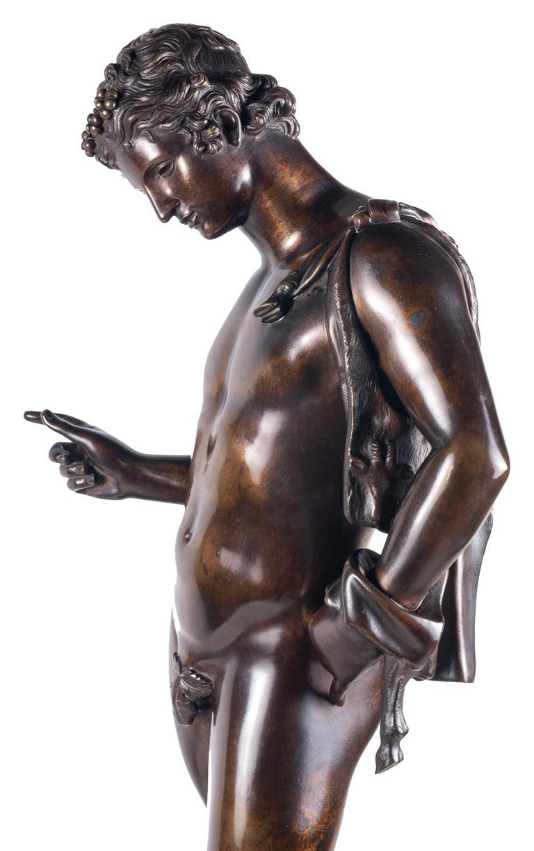 19th Century Grand Tour Bronze Statue of Narcissus For Sale 3