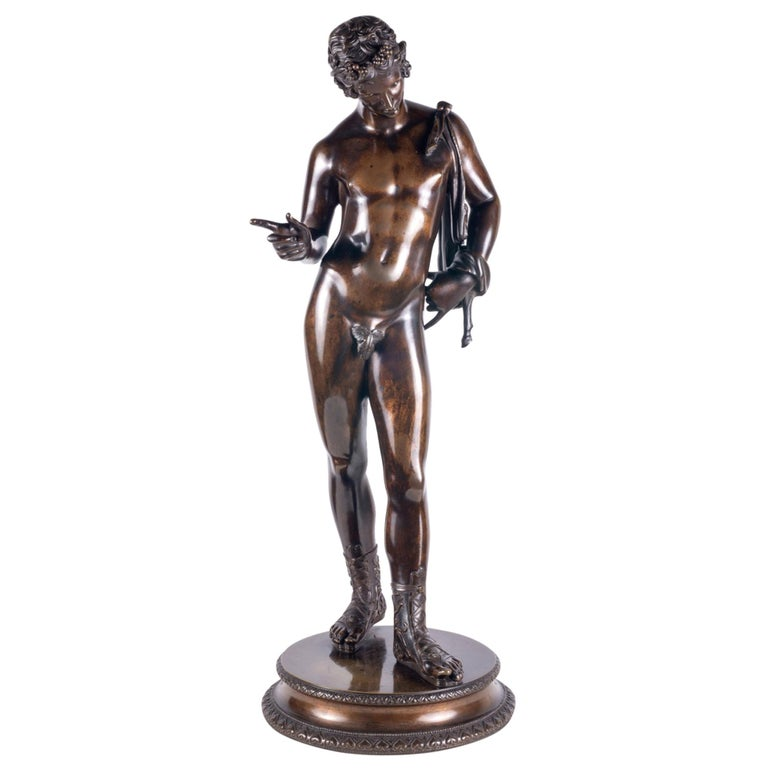 19th Century Grand Tour Bronze Statue of Narcissus For Sale