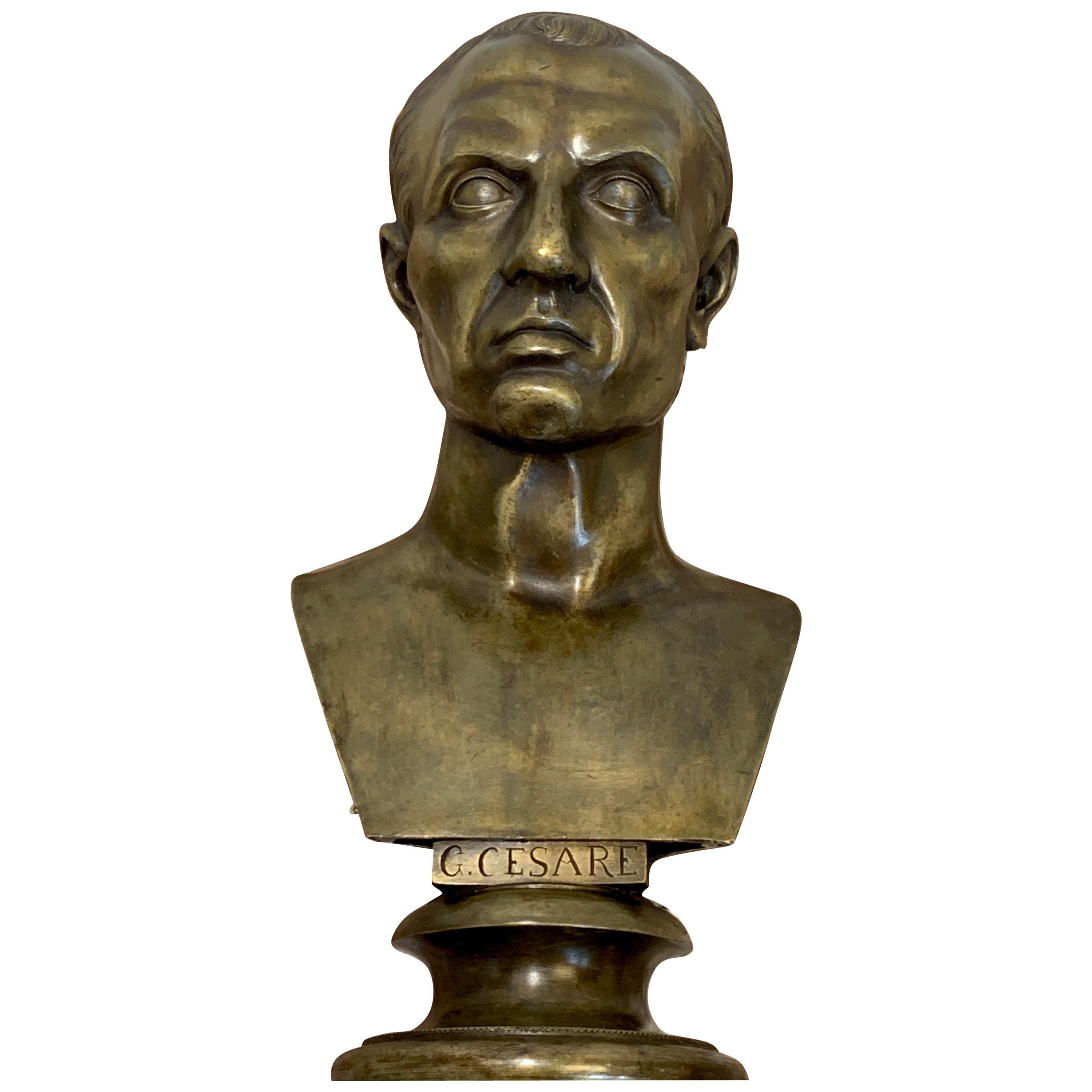 19th Century Grand Tour Bust of Gaius Julius Caesar, Roma Foundry