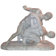 19th Century Grand Tour Marble Sculpture after the Antique Uffizi Wrestlers