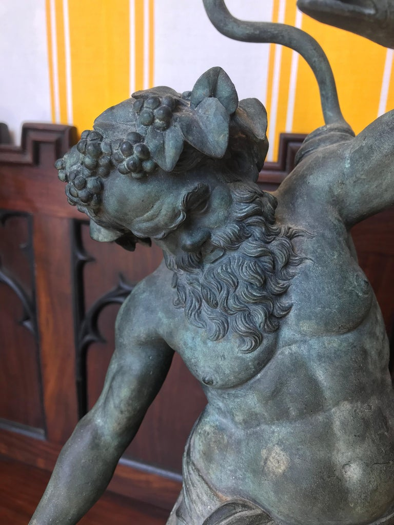 Italian 19th Century Grand Tour Patinated Bronze Silenus Lamp For Sale