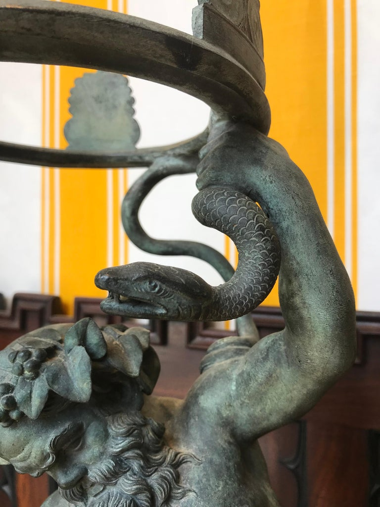 19th Century Grand Tour Patinated Bronze Silenus Lamp In Excellent Condition For Sale In Essex, MA