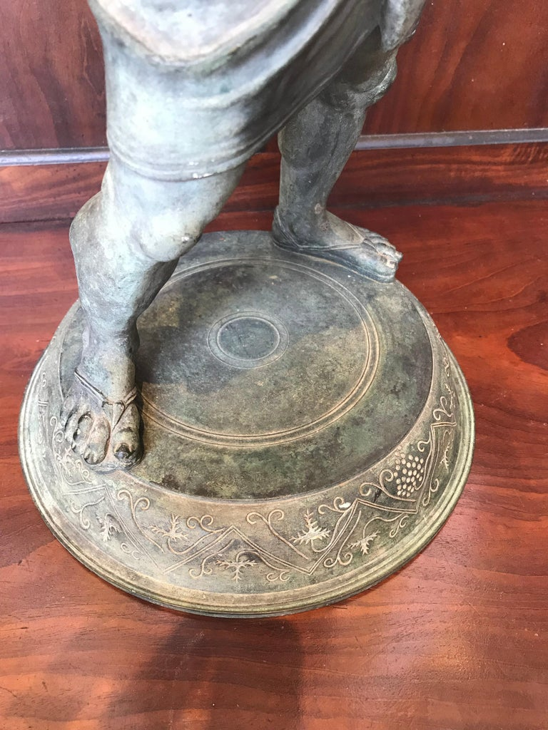 19th Century Grand Tour Patinated Bronze Silenus Lamp For Sale 2