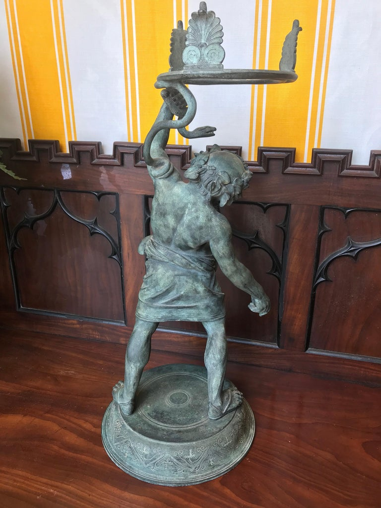 19th Century Grand Tour Patinated Bronze Silenus Lamp For Sale 3