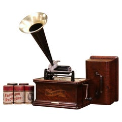 19th Century Graphophone by the Columbia Phonograph Co. with Casing and Rolls