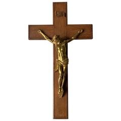 19th Century Great Quality Gilt Bronze Wall Crucifix on a Carved & Inlaid Cross