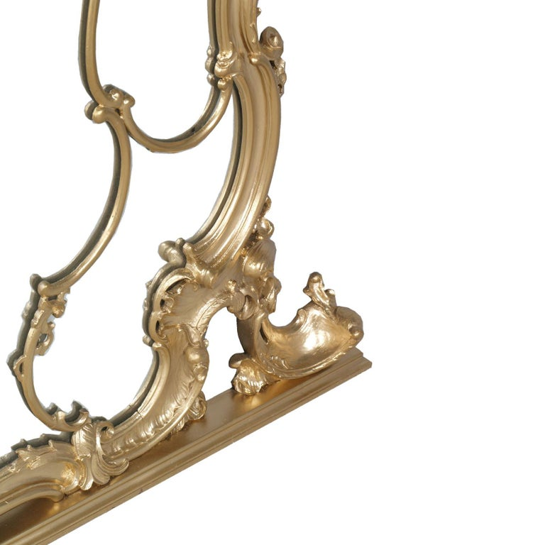 Italian 19th Century Great Venice Baroque Wall Mirror, Hand Carved Walnut Gold Leaf For Sale