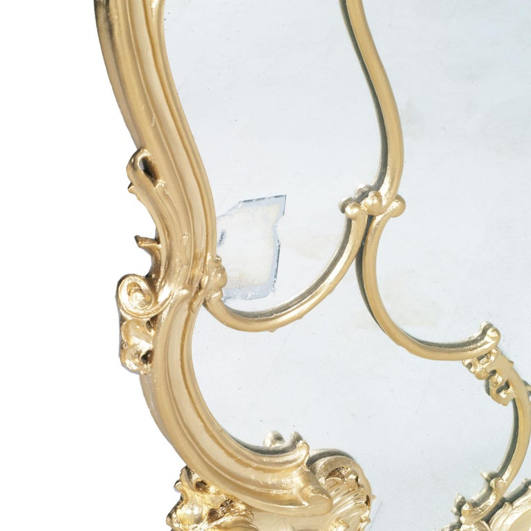 19th Century Great Venice Baroque Wall Mirror, Hand Carved Walnut Gold Leaf In Good Condition For Sale In Vigonza, Padua